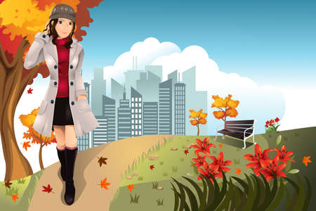 illustration of an Autumn or Fall girl walking in the park