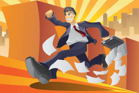 running late:  illustration of a businessman running in a hurry Illustration