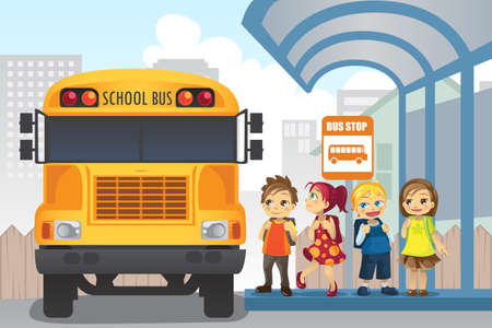 child of school age: illustration of little children waiting at a bus stop Illustration
