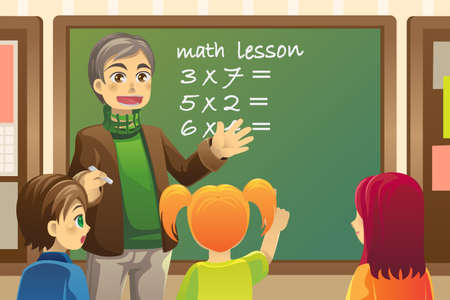 classroom chalkboard:  illustration of a teacher teaching math in a classroom