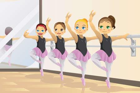 практика: Иллюстрация милые девушки, балерины танцуют балет практики Иллюстрация