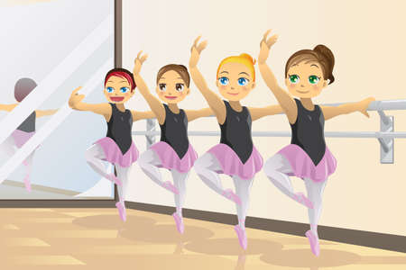 elementary age girl:  illustration of cute ballerina girls practicing ballet dance