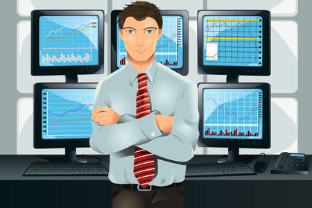 stocks: illustration of a stock trader in his office in front of multiple monitors showing graphs