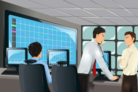 stock traders: illustrazione dei commercianti di stock di lavoro in un ufficio Vettoriali
