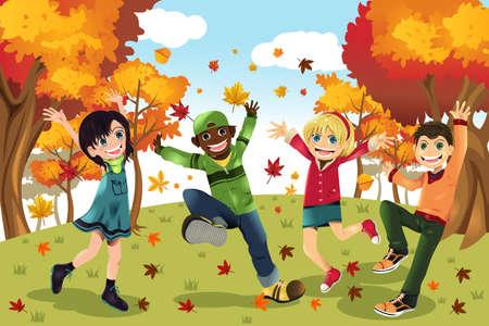 ni�os jugando parque: Ilustraci�n de ni�os jugando al aire libre durante la temporada de oto�o o ca�da Vectores