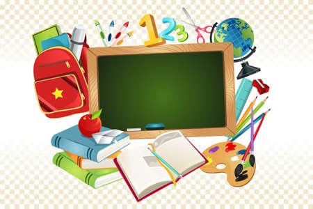 school backpack: Ilustración de un regreso a la escuela de fondo Vectores