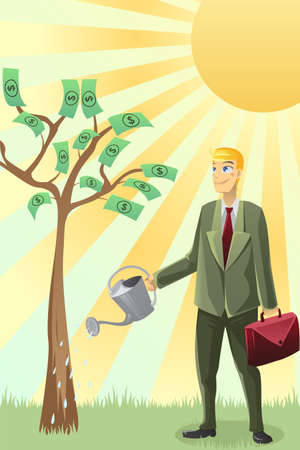watering: Een illustratie van een zakenman water geven een geldboom Stock Illustratie