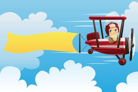 빈 배너를 들고 비행기 조종사의 그림
