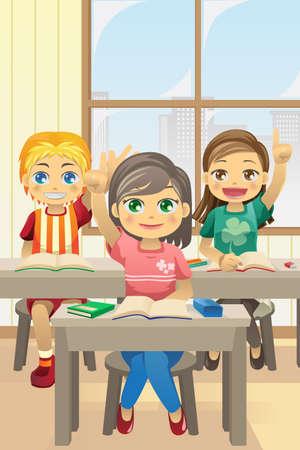 illustratie van kinderen in de klas vragen