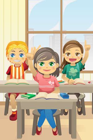 illustration of kids in classroom asking questions Vector