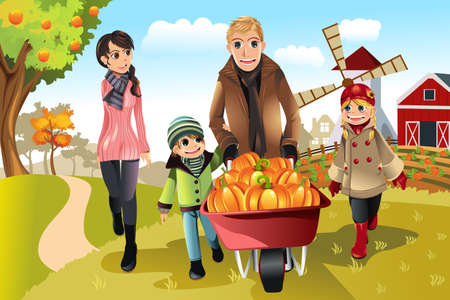 A illustration of a happy family on a pumpkin patch trip in autumn or fall season