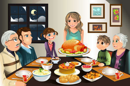 Una ilustración de una familia con una cena de acción de gracias juntos Ilustración de vector