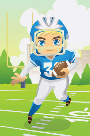 kids football: A illustration of a boy carrying an American football