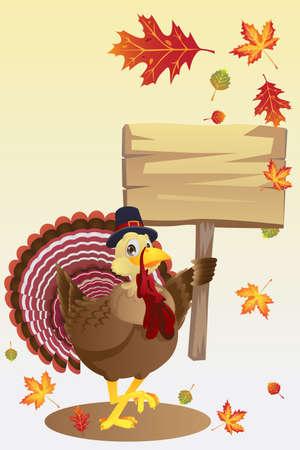 A illustration of a turkey carrying a blank sign Иллюстрация
