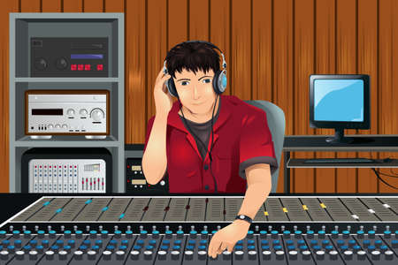 Een illustratie van een muziekproducent van luisteren in de studio