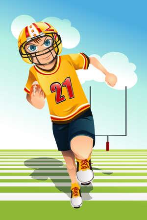미식 축구를 운반하는 소년의 그림