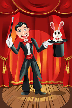 illustration of a magician performing on a stage Vector