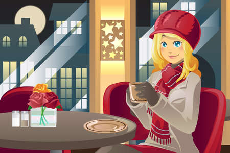 A illustration of a beautiful winter woman drinking coffee in a cafe Çizim