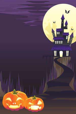 Una ilustración de fondo de Halloween con calabazas y espeluznante castillo y murciélagos volando Foto de archivo - 10369921