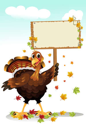 A vector illustration of a turkey holding a blank sign