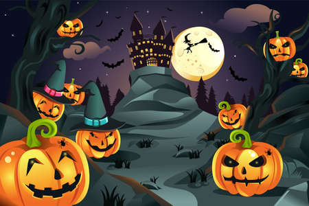 A vector illustration of Halloween background with pumpkins and spooky castle and flying bats Vector