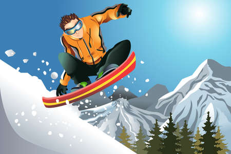 A vector illustration of a snowboarder in action