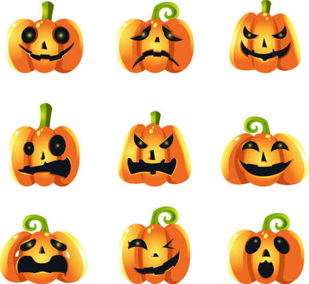 A vector illustration of different pumpkin expressions Stock Vector - 10500405