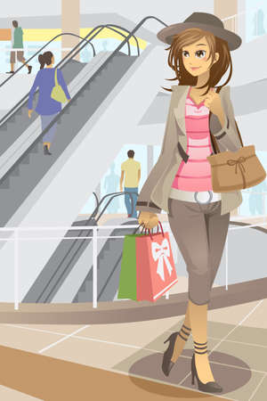 A vector illustration of a young modern woman shopping in a shopping mall Illustration