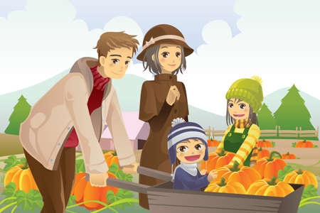 A vector illustration of a happy family on a pumpkin patch trip in autumn or fall season