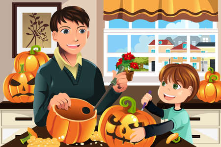 An illustration of a father and his son carving pumpkins for Halloween