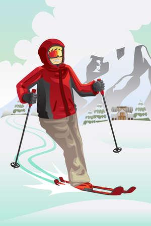 山でスキー スキーヤーのイラスト