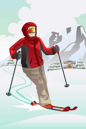 downhill skiing: Illustration of a skier skiing in the mountain