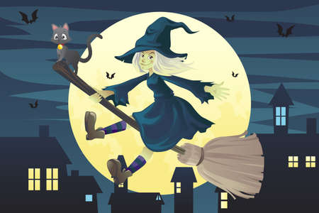 An illustration of a Halloween flying witch on a broomstick in the evening