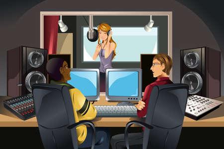 recording studio: Een illustratie van een zanger die zingt in een studio wordt geluisterd door muziekproducenten Stock Illustratie