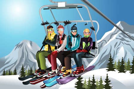 An illustration of a group of skiers sitting on a ski lift