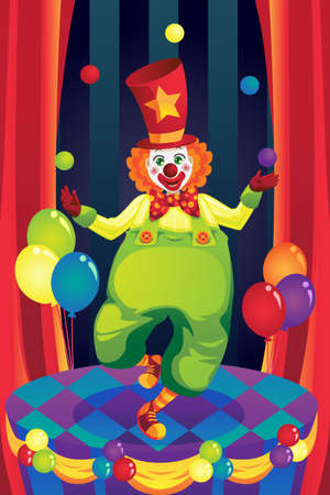 An illustration of a clown performing on stage