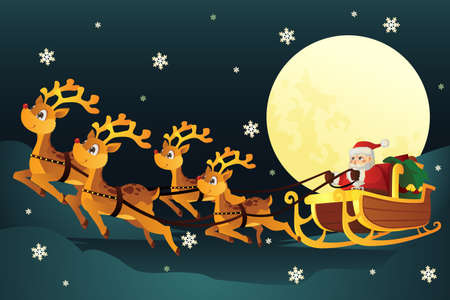 An illustration of Santa Claus riding the the sleigh pulled by reindeers in the middle of winter night Vector