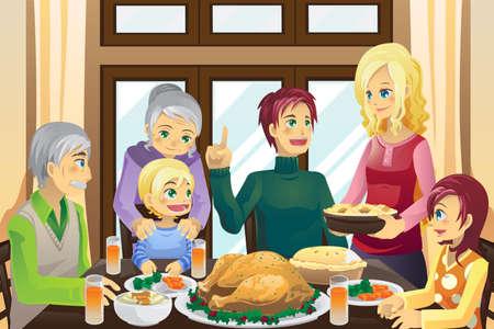 una ilustración vectorial de una familia con una cena de acción de gracias juntos