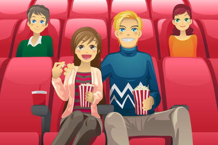 a vector illustration of a couple watching a movie in a movie theater Ilustração