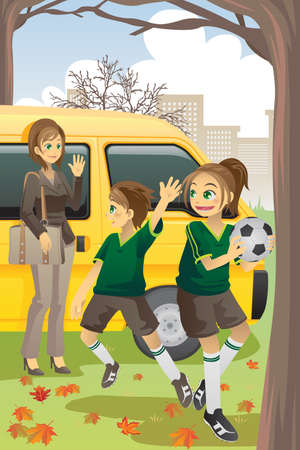 dropoff: a vector illustration of a mom dropping off her kids to soccer practice