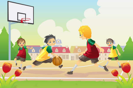 kids playing outside: a vector illustration of kids playing basketball in the suburban area