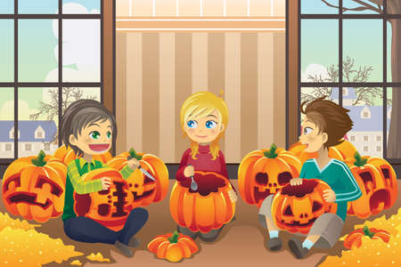 a vector illustration of kids carving pumpkins together at home