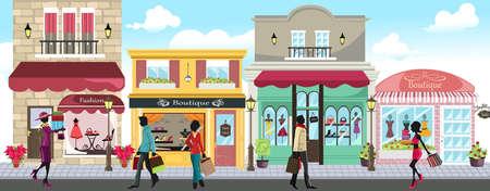 Een vector illustratie van mensen die boodschappen doen in een openlucht shopping mall