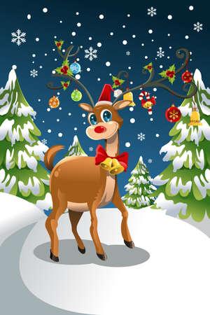 Een vector illustratie van een rendier kerst in de sneeuw