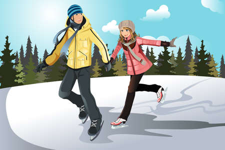 A vector illustration of a young couple ice skating outdoor