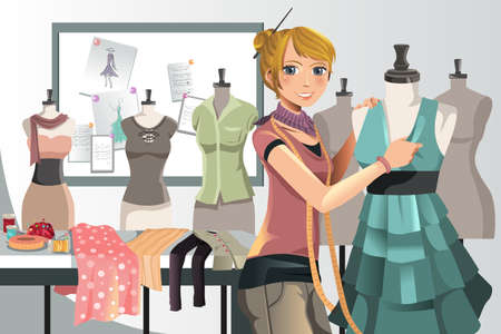 A vector illustration of a fashion designer at work