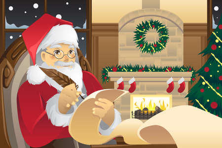 cartoon fireplace: A vector illustration of Santa Claus writing Christmas presents list on a piece of paper
