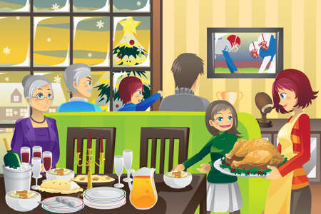A vector illustration of a Thanksgiving tradition of family dinner and watching football