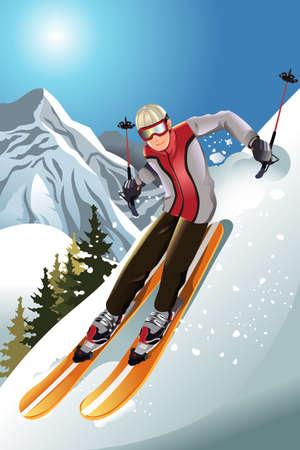 Een vector afbeelding van een skiër skiën in de bergen