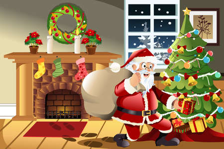 A vector illustration of Santa Claus carrying a bag of Christmas presents dropping a present under the Christmas tree Vector